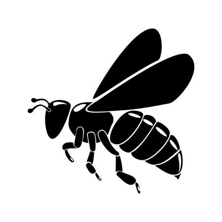 zwarte bijen silhouet geïsoleerd op witte achtergrond  Vector Illustratie