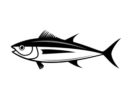 outline fish:  tuna fish silhouette isolated on white background