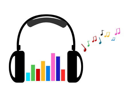 surrounding: headphone and colorful volume and music notes vector