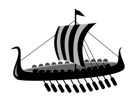 greek flag: vector ancient battle ship of viking isolated on white background Illustration
