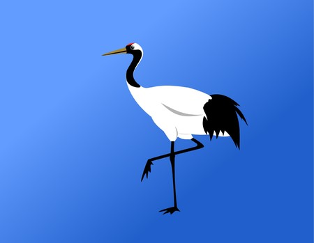 chinese red-crowned crane standing on blue background Vector