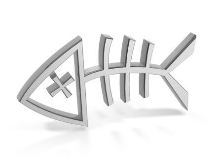 Símbolo de hueso de plata peces muertos aislado sobre fondo blanco  Foto de archivo - 7690366