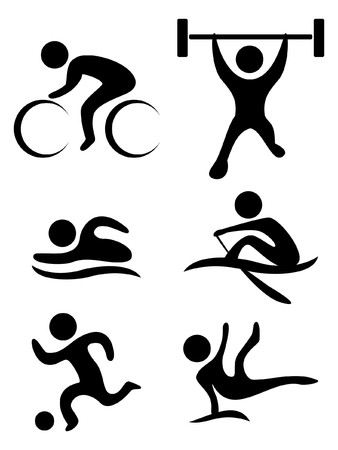 weightlifting: sports symbols: bicycle, weightlifting, swimming, soccer ball,gymnastics, rowing