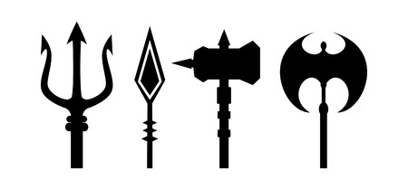 ancient weapons outline  on white background
