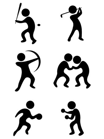 sports symbols: baseball golf basketball wrestling boxing and toxophily Vector