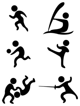 sports symbols:field and track volleyball karate wrestling swordplay and sail Vector