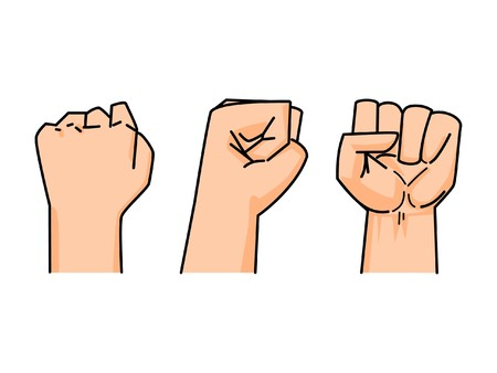 fist of human on white background (back, side, front) Vector