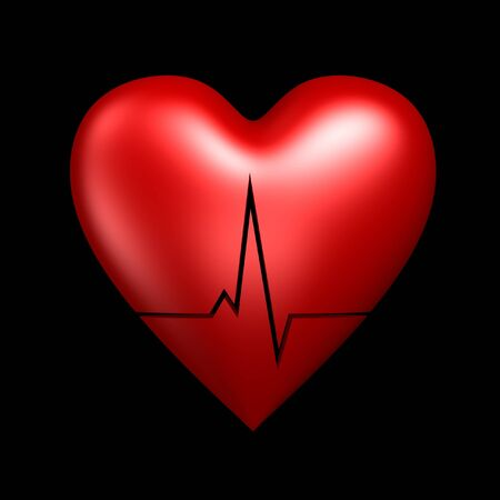 red heart with cardiogram isolated on dark background photo
