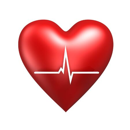 red heart with cardiogram isolated on white background Stock Photo