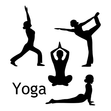 girl pose: yoga poses silhouette  isolated on white background