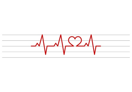 stave: heart shape electrocardiogram vector on stave background Illustration