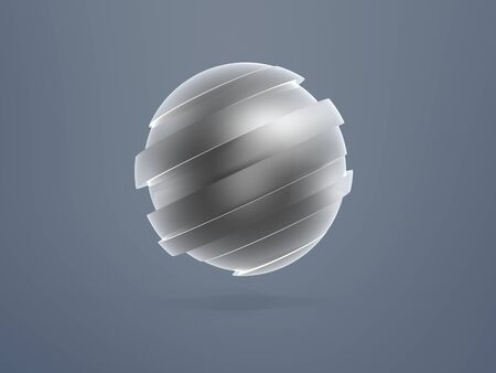 splice: sliver sphere model sliced over blue background