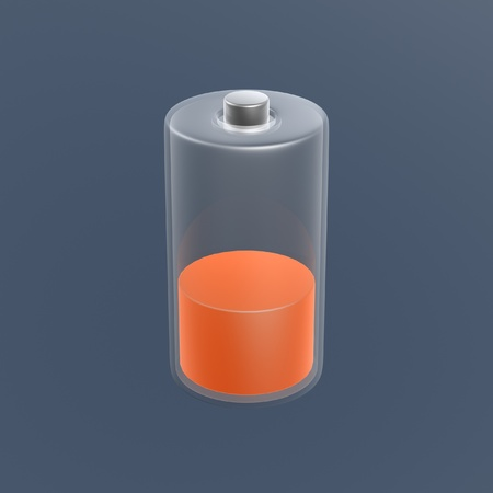 battery with low power on dark background photo