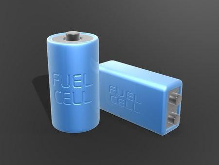 nimh: blue fuel cell battery on dark background