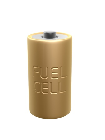 nimh: golden fuel cell battery on white background