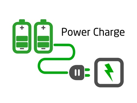 charge: battery charge with plug on white background