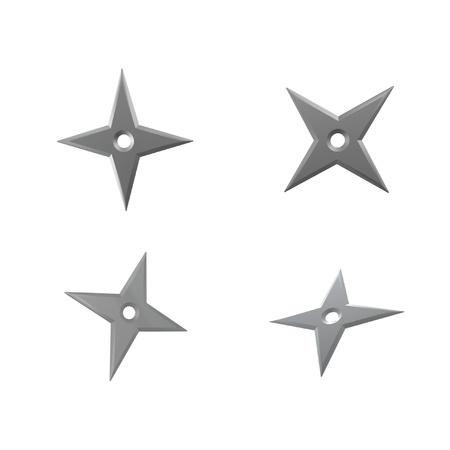 shuriken: Ninja Shuriken estrella aisladas sobre fondo blanco
