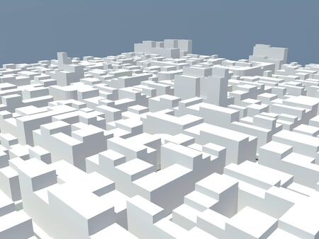 aerial view of white blocks city with blue sky background Stock Photo - 8711310