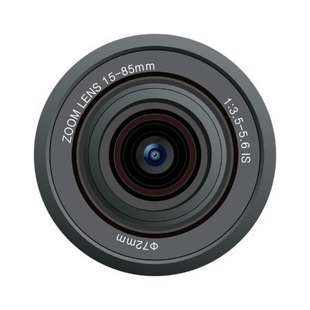 slr camera: camera lens  isolated on white background Illustration