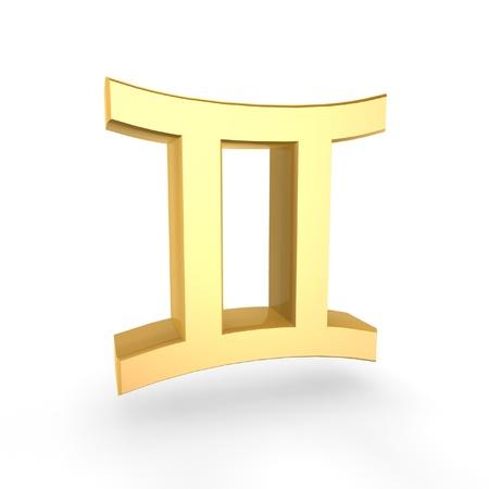 golden gemini symbol of zodiac isolated on white background Stock Photo - 8924788