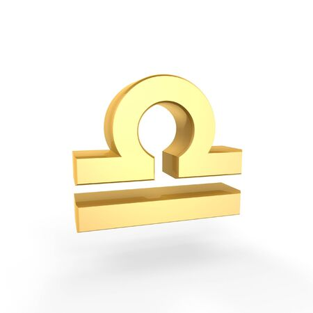 golden  symbol of zodiac isolated on white background photo