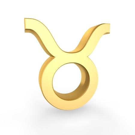 golden taurus symbol of zodiac isolated on white background