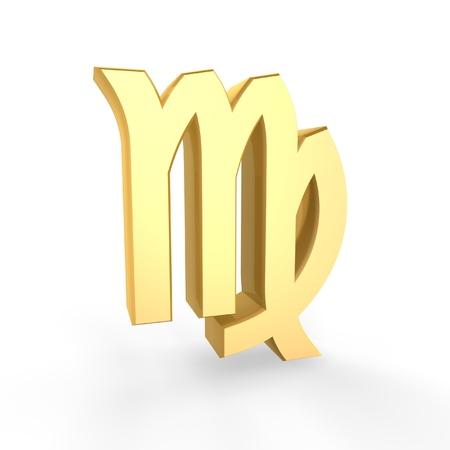golden virgo symbol of zodiac isolated on white background photo