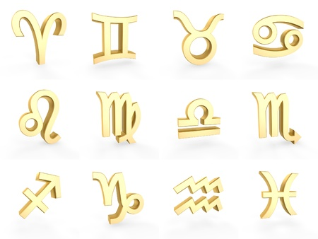 gemini: 12 golden zodiac symbols on white background