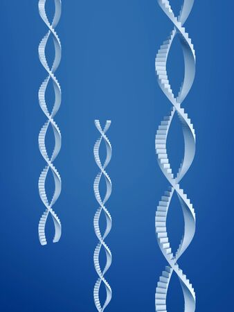 stair of dna structure on blue background photo