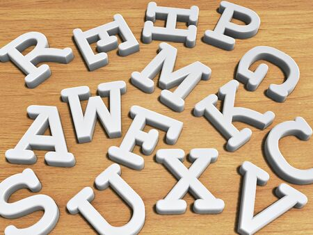 white solid letters on wood table background Stock Photo - 9301697