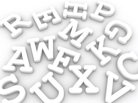 white solid letters with shadows on light background Stock Photo - 9301696