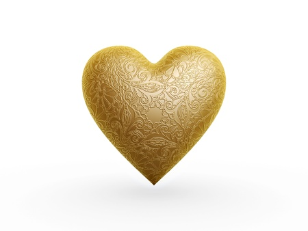 gold heart with flower pattern on white background