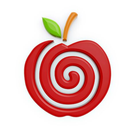 fructose: red apple spiral symbol isolated on white background
