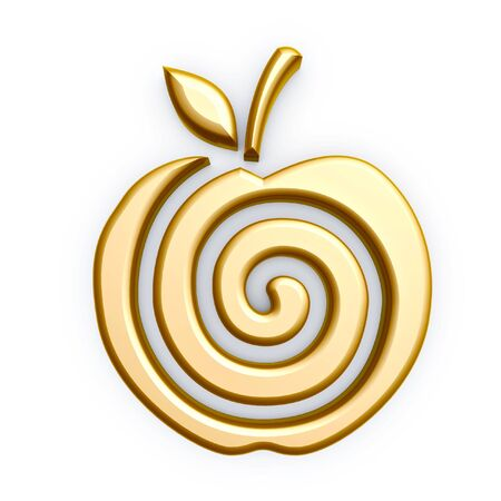 gold apple spiral symbol isolated on white background