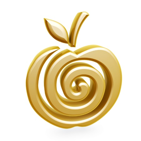 golden apple: gold apple spiral symbol isolated on white background