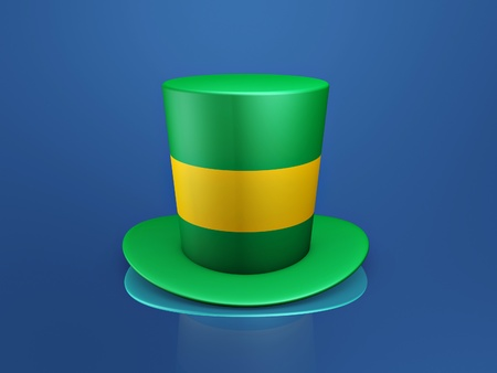 green tophat: brazil green yellow hat on blue background Stock Photo
