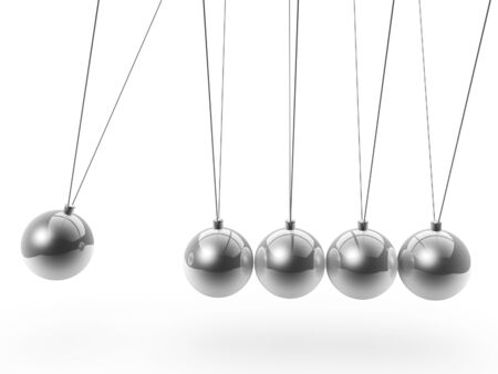 newtons cradle side view isolated on white background