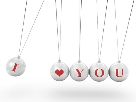 sliver: love you symbol newtons cradle isolated on white background