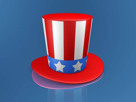 sam: Uncle Sam hat of usa on blue background