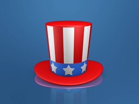 Uncle Sam hat of usa on blue background photo