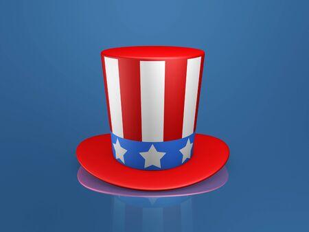 Uncle Sam hat of usa on blue background 版權商用圖片 - 9579931