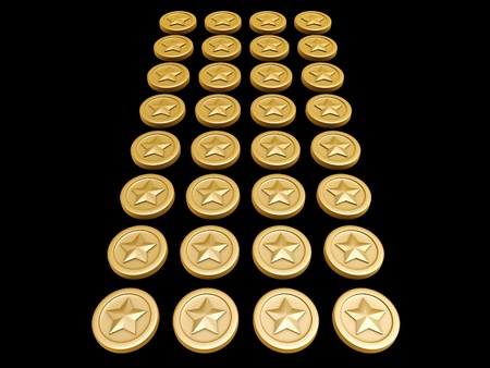 stake: gold coins with star symbol on dark background