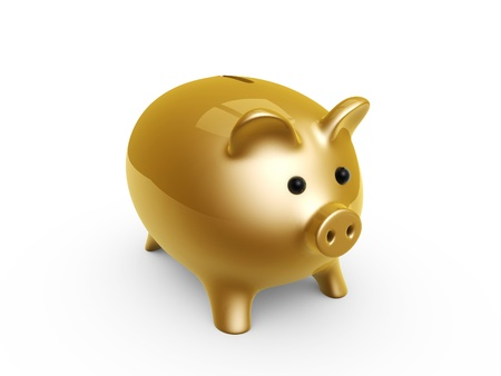 golden pig bank isolated on white background