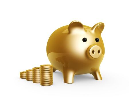 money pig: golden pig bank and coins isolated on white background