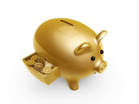 pig bank with coins in drawer isolated on white background photo
