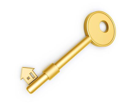 gold house: gold key with house profile isolated on white background