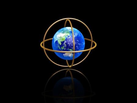 latitude: earth with longitude and latitude rings on dark background