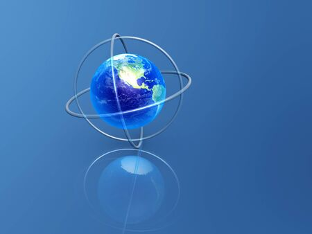 earth with longitude and latitude rings on blue background Stock Photo - 9704283