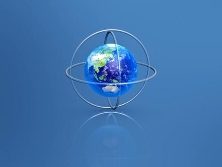 longitude: earth with longitude and latitude rings on blue background