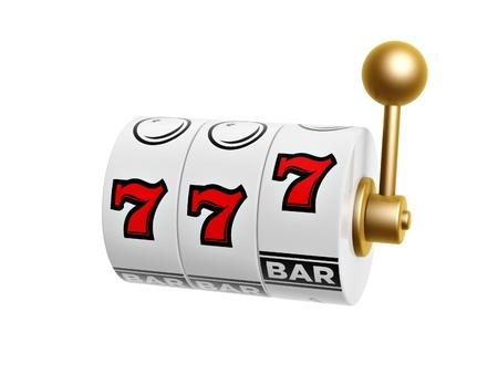 tragamonedas: m�quina tragaperras con siete signo aislado en fondo blanco